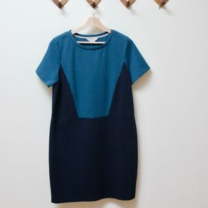Boden Color Block Shift Dress, Turquoise + Navy